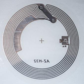 Original NXP iCode SLIX-L 13,56MHz RFID Tag (ISO 15693) als durchsichtiger Klebesticker (32mm)